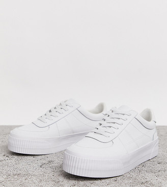 Asos Design DESIGN Wide Fit Depart leather chunky sneakers in white