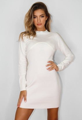 Missguided White Seamed High Neck Knit Mini Dress