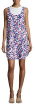 Jil Sander Navy Round-Neck Floral-Print Dress, White/Blue