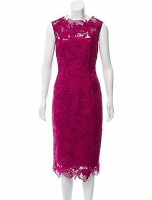 Lela Rose Lace Midi Dress Fuchsia