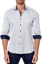 Jared Lang Micro Dot-Print Sport Shirt, Gray