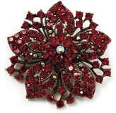 Avalaya Victorian Corsage Flower Brooch (Burgundy Red & Antique )