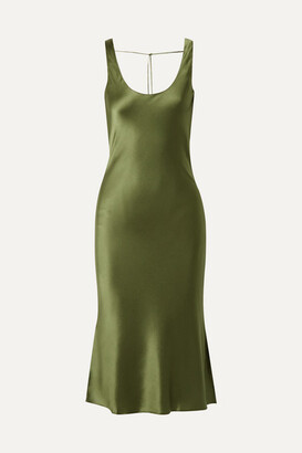 CAMI NYC The Evelyn Silk-blend Charmeuse Midi Dress - Army green