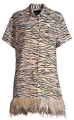 Le Superbe Women's Club Tropicana Feather-Trimmed Tiger Shirtdress