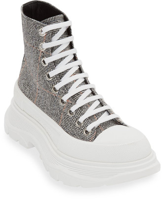 Alexander McQueen Plaid High-Top Platform Sneakers