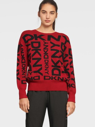 DKNY Women's Exploded Logo Pullover - Black/Ivory - Size XX-Small