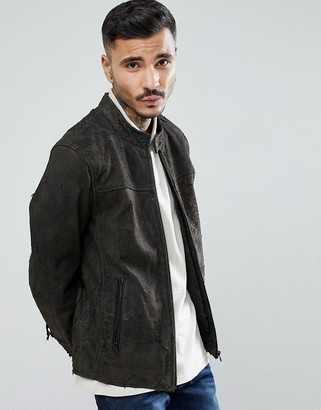 Goosecraft Austin Distressed Leather Jacket in Gray