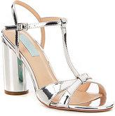 Betsey Johnson Blue by Luisa Metallic T-Strap Block Heel Dress Sandals