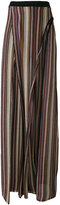 Balmain metallic striped slit trousers - women - Cupro/Viscose/Metallized Polyester - 38