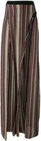 Balmain metallic striped slit trousers - women - Viscose/Cupro/Metallized Polyester - 36