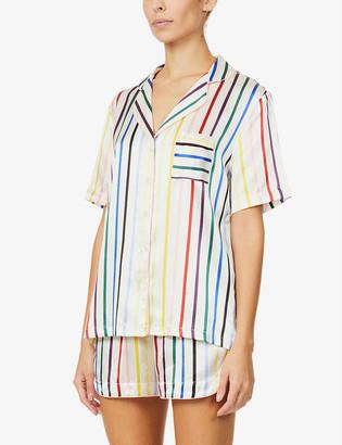 Chinti and Parker Striped silk-satin pyjama shorts set