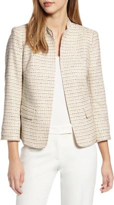 Anne Klein Tweed Mandarin Collar Jacket