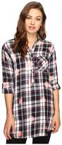 Brigitte Bailey Martina Washed Plaid Button Up Tunic