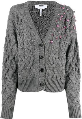 MSGM Jewel-Embellished Cable Knit Cardigan