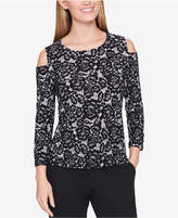 Tommy Hilfiger Lace Cold-Shoulder Button-Sleeve Top