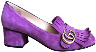 Gucci Marmont Purple Suede Heels