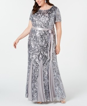 R & M Richards Plus Size Embellished Godet Gown
