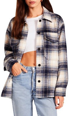 Steve Madden Plaid Shacket Blue Multi