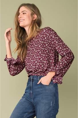 Next Womens Purple Floral Print Frill Sleeve Top - Purple