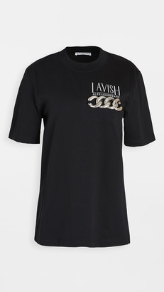 Alexander Wang Short Sleeve T-Shirt with Print & Chain