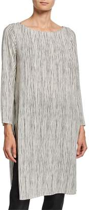 Eileen Fisher Linear Stripe Ballet-Neck Silk Crepe Tunic
