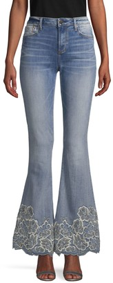 Driftwood Embroidered Flared Jeans