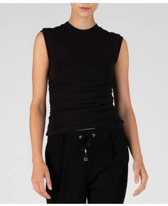 ATM Anthony Thomas Melillo Pima Cotton Ruched Sleeveless Top - Black