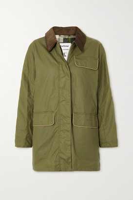 Barbour + Alexachung Cyril Corduroy-trimmed Waxed-cotton Jacket - Dark green