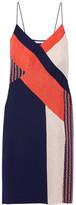 Diane von Furstenberg Frederica Paneled Printed Stretch-silk Dress - Navy