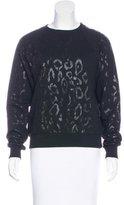 Saint Laurent Leopard Print Crew Neck Sweatshirt