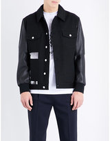 Mcq Alexander Mcqueen Graphic-print Denim And Leather Jacket