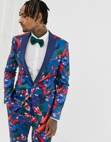 Asos Design DESIGN skinny tuxedo suit jacket in fish print