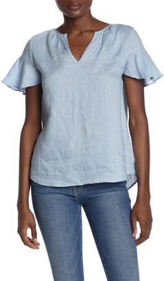 Catherine Malandrino Short Sleeve Split Neck Linen Top