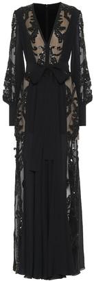 Elie Saab Embellished silk-blend crepe gown