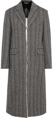 Stella McCartney Melany Distressed Herringbone Wool-blend Coat