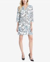 Karen Kane Floral-Print Split-Neck Shift Dress