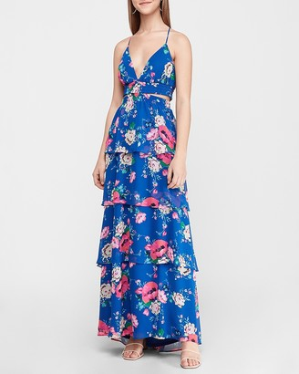 Express Floral Tiered Cut-Out Maxi Dress