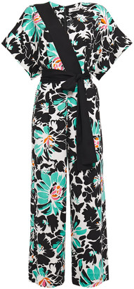 Diane von Furstenberg Karissa Wrap-effect Floral-print Stretch-crepe Wide-leg Jumpsuit