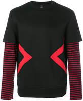 Neil Barrett stripe print layered sleeves T-shirt