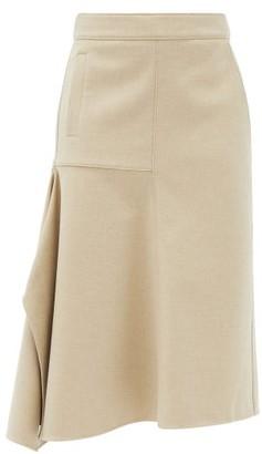 Tibi Asymmetric Flannel Midi Skirt - Camel