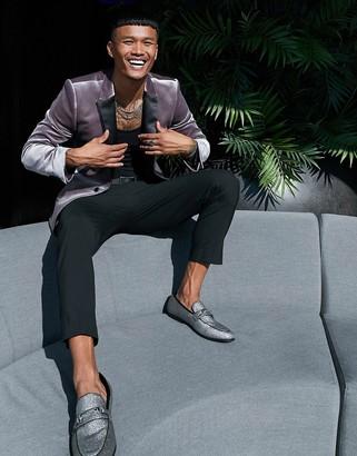 ASOS DESIGN super skinny velvet tuxedo blazer in grey
