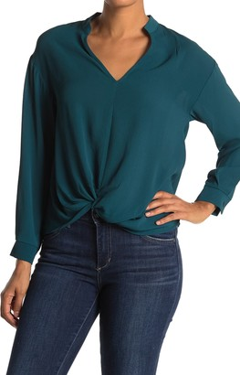 Lush Twist Front Long Sleeve Blouse