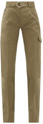 La Fetiche - Emmanuelle Utility-belt Cotton-twill Trousers - Womens - Khaki