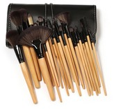 Bliss & Grace 24-Piece Professional Makeup Brush Set with Vegan Leather Travel Case - Wood
