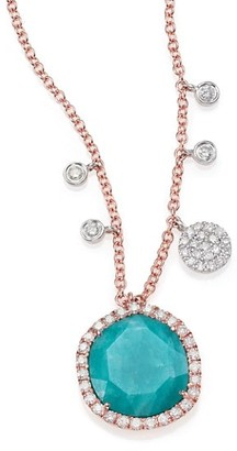 Meira T Amazonite, Diamond 14K Rose Gold Pendant Necklace