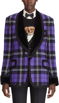 Ralph Lauren Wilde Plaid Velvet-Lapel Tuxedo Jacket