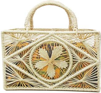 Sensi Square Cutout Straw Top-Handle Basket Bag