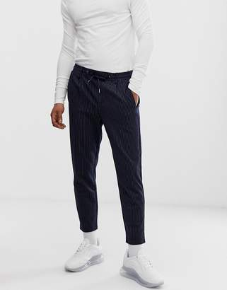 Jack and Jones pinstripe trouser with drawstrings-Navy