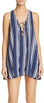 Show Me Your Mumu Rancho Mirage Striped Lace Up Mini Dress