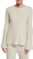 The Row Ribbed Bell-Sleeve Cashmere Sweater